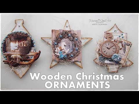 DIY Wooden Vintage Christmas Ornaments ♡ Maremi's Small Art ♡