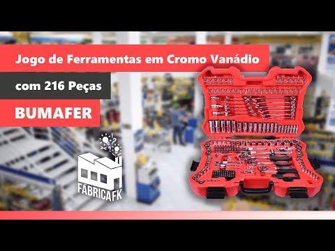 Jogo de Ferramentas em Cromo Vanádio Bumafer - 216 peças - Vídeo explicativo