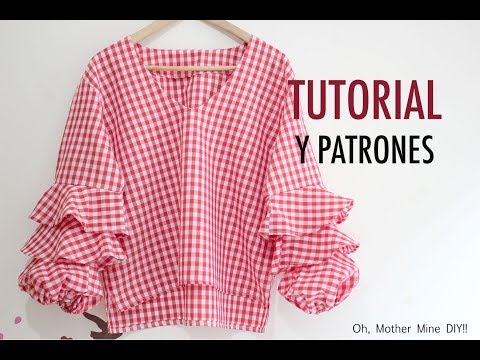Costura blusa mangas con volantes para mujer (patrones gratis)
