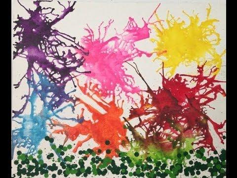 Pintura Con Crayones Derretidos Y Secadora De Pelo Youtube
