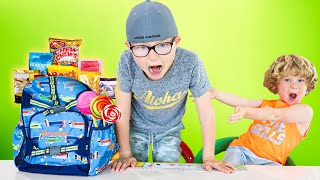 Kids Play Back to School and SNEAK Candy | Videos for Children