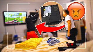 SLAMMING MY LITTLE BROTHERS PS4 AND SURPRISING HIM WITH A NEW ONE ! | The Braap Family
