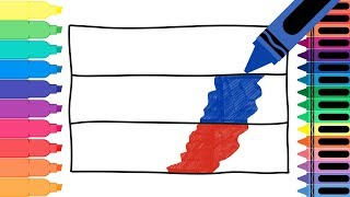 How to Draw Russia Flag - Drawing the Russian Flag - Coloring Pages for kids | Tanimated Toys
