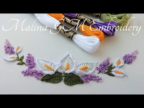 Dimensional Embroidery : graceful bouquet of flowers