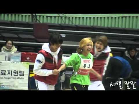 [fancam] 110123 f(x)'s Luna Wins and SHINee's Onew falls on her plus Minho {LUNEW}