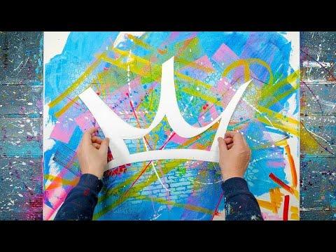 Pop Art Acrylic Painting Demo + Stencils / Spray / Markers | regnum