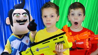 Nerf Battle:  Payback Time vs Hello Neighbor Rewind (Twin Toys)