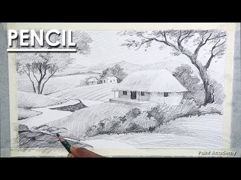 Landscape Drawing in Pencil : Indian Village | Pencil shading techniques