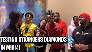 TESTING STRANGERS DIAMONDS🥶💎 FT. FREDO BANG MIAMI MALL EDITION | *NEW PUBLIC INTERVIEW*