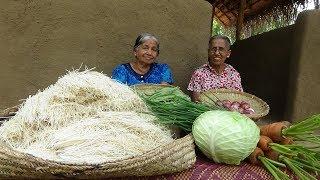 Veg Noodles Recipe ❤ Chilli Garlic Hakka Noodles prepared by Grandma and Mom   Village Life