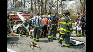 FDNY rescues trapped driver [ Door Extrication ]