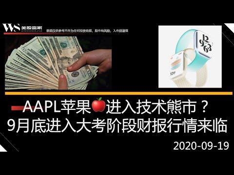 AAPL苹果进入技术熊市?美股9月底大考,季度财报个股独立行情展开