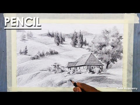 Pencil Drawing : A Composition on A Mountain landscape
