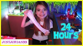24 Hours In Box Fort Arcade! Slime Making Challenge! / Justjordan33