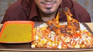 CHICKEN TANDOORI, RICE, DAL, NAVY BEAN SALAD - Eating ASMR Sounds - Mukbang Eating Show