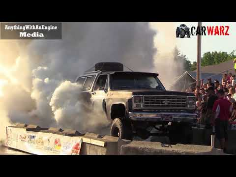 Old Beat Up Chevy Big Burnout At Rod Benders Burnout Competition