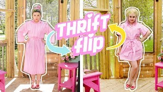 THRIFT FLIP ✏️💞 Retro Pink Pinstripe Dress Makeover!