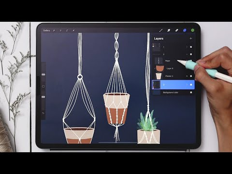 Draw 3 Macrame Hanging Planters in Procreate