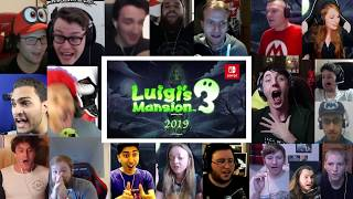 Live Reaction: Luigi's Mansion 3 Reveal for Nintendo Switch | 20+ Youtubers Synched Compilation