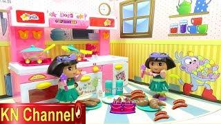 Đồ chơi nhà bếp BÚP BÊ DORA NẤU ĂN TRONG NHÀ BẾP MỚI Toy kitchen velcro fruit vegetables
