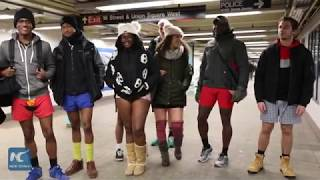 'No Pants Subway' riders brave freezing temperatures in New York city