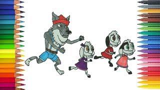 Chó Sói và Bảy Chú Dê Con đang chạy   Tô màu và để vẽ