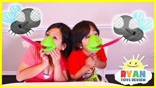 Ryan plays Tic Tac Tongue Catch Bugs Game!!!