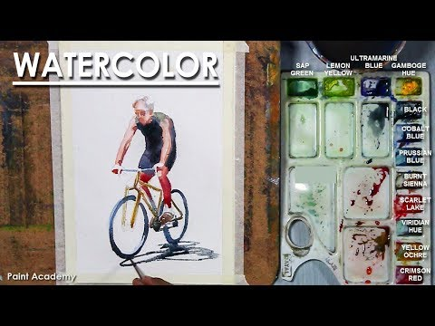 Watercolor painting : The Cyclist