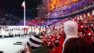Russian team on the opening ceremony Sochi