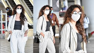 Tollywood actress Keerthy Suresh spotted at Hyderabad airp..