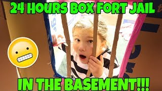 24 Hours Overnight In Box Fort Jail In My Basement!! Slime Prank On Mom Gone Wrong!