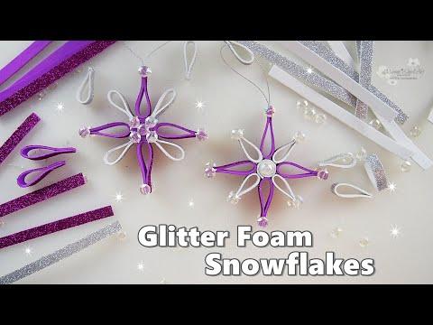GLITTER FOAM Pretty Snowflake Star Ornaments Decorations DIY ♡ Maremi's Small Art ♡