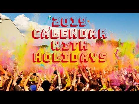 2019 Calendar With Holidays, Festivals, Observances