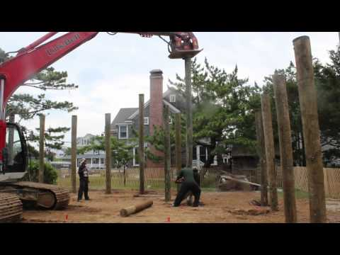 Driving Pilings with Baine Contracting in Mantoloking NJ