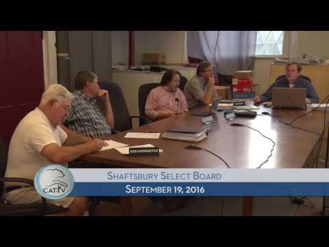 Shaftsbury Select Board - 9/19/16