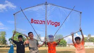 Thử Làm Diều Khổng Lồ Đi Thả Suýt Tí Nữa Bị Kéo Bay Lên Trời - Cái Kết Mĩ Mãn   Bazan Vlogs