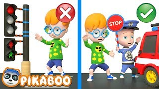 BABY POLICE STOPS STREET VEHICLES | Cartoon for Kids | Pretend Play with PiKaBOO