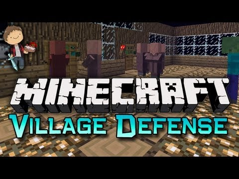 Minecraft: VILLAGER DEFENSE! Mini-Game W/Mitch & Friends! - Smashpipe Games