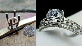 cubic zirconia rings - custom white gold engagement ring