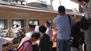 旧塗装化された西鉄313形の出発式(入線シーン) 2014/5/23 貝塚駅