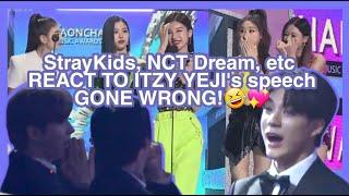 Idols (StrayKids, NCT Dream, Monsta X, N.Flying & G-Idle) react to ITZY Yeji speech at Gaon Awards!❤