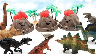 Learn Dinosaurs Names With 3 Volcano Eruption Lava! Jurassic World Dinosaur Toys For Kids