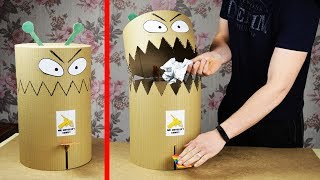 DIY funny toy Trash Can from cardboard