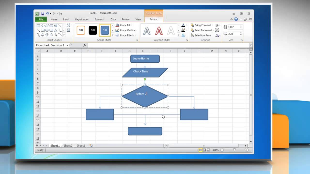 excel flow diagram how to make a flow chart in excel 2010 - youtube process flow diagram using excel #7