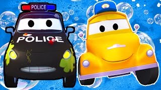 Tom the Tow Truck's Car Wash and Matt the Police Car   Truck cartoons for kids