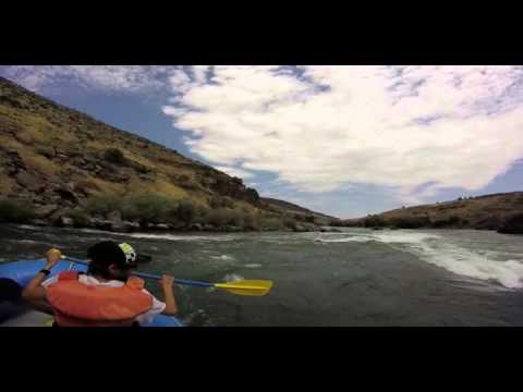 Paddling the rapids on the Deschutes River, July 2015