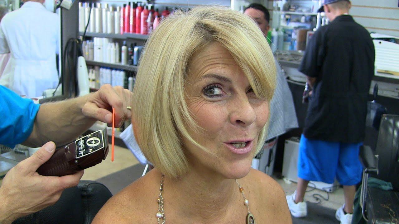 Women's blonde layered sexy bob clipper / womens haircut ...