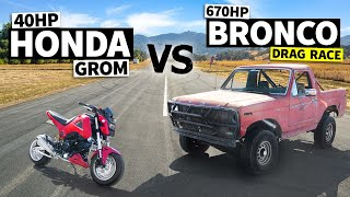 650hp big block Ford Bronco vs 40hp fully-built Honda Grom! // This VS That