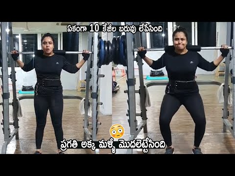 Actress Pragathi lifts heavy weights in gym, viral video