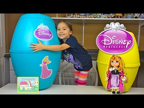 HUGE DISNEY PRINCESS PLAYDOH KINDER SURPRISE EGGS Princess Aurora Baby Doll Toys - Plastilina